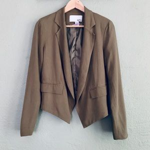 Bar III olive open front asymmetric blazer